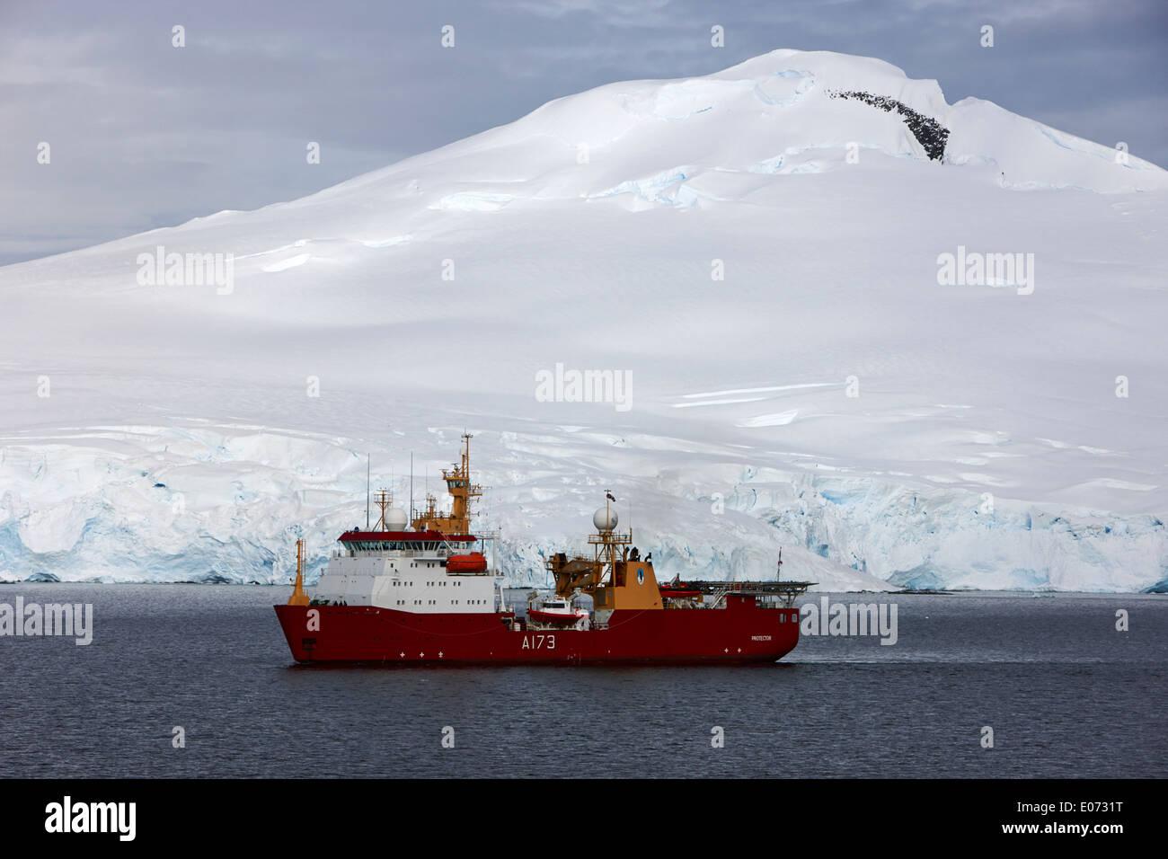 Royal Navy Ice Patrol Ship HMS Protector in Port Lockroy Antarctica - Stock Image