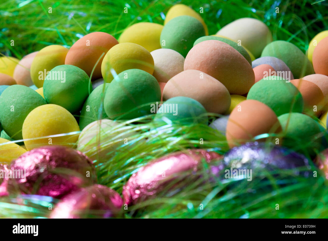 Multi-Colored Candy Eggs - Stock Image