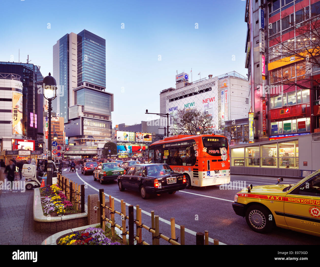 Taxi cabs in Tokyo near Shibuya station intersection. Tokyo, Japan. - Stock Image