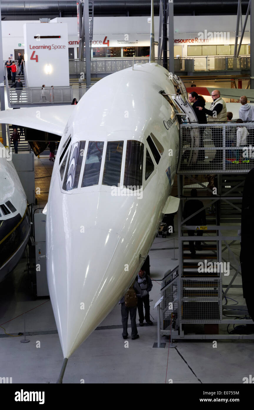 Concorde supersonic airliner in Duxford Air Museum - Stock Image