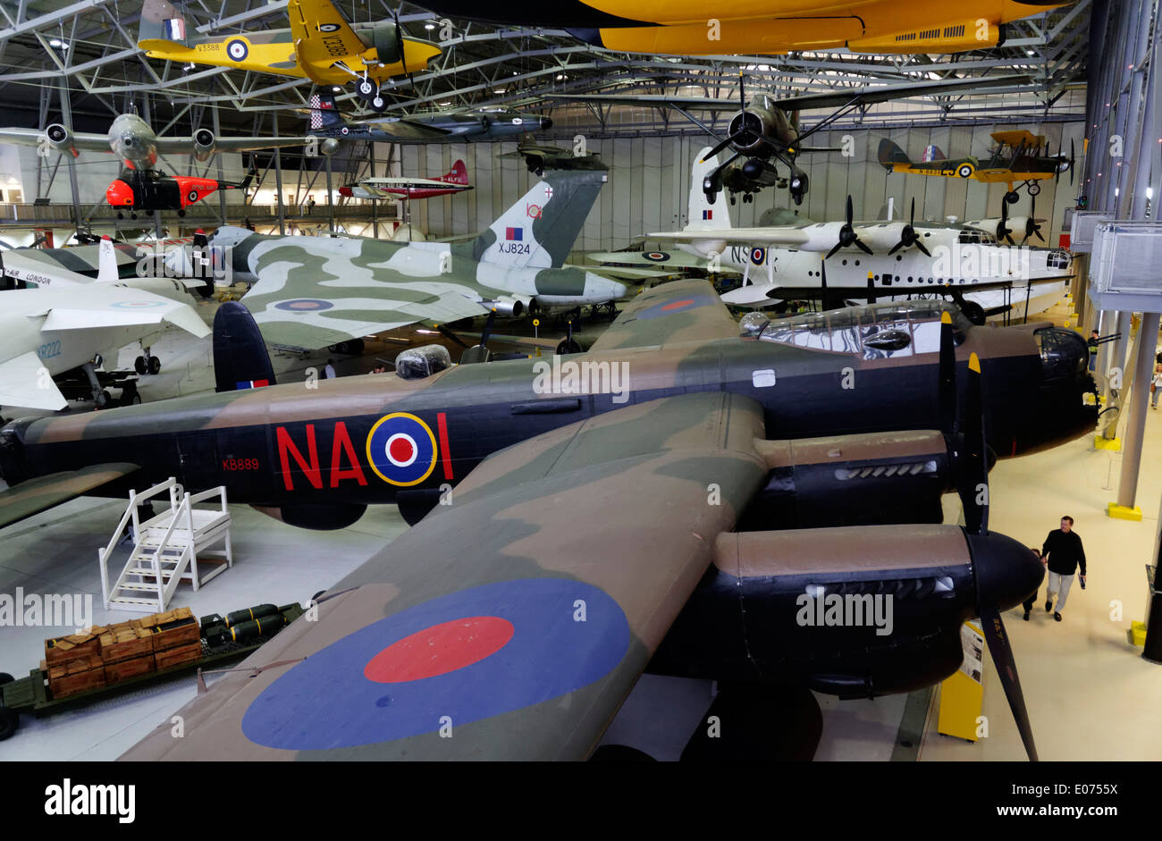 The Avro Lancaster bomber in Duxford Air Museum - Stock Image