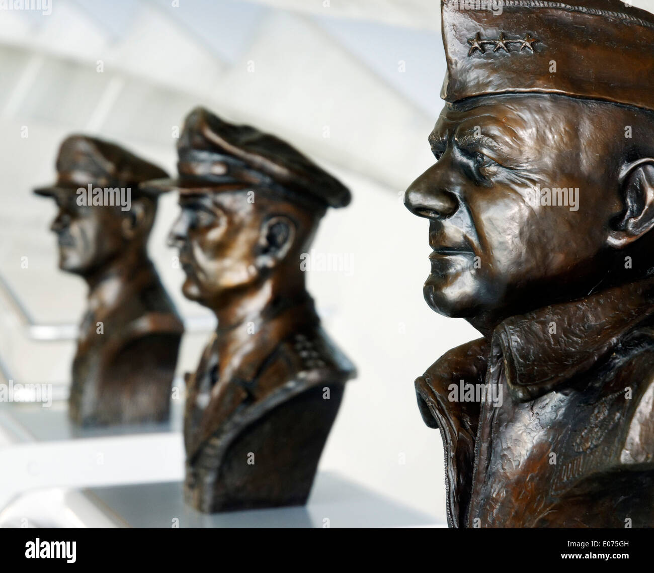 Busts of USAF Eighth Air Force commander James Doolittle, Carl Spaatz and Ira Eaker at Duxford Air Museum, England - Stock Image