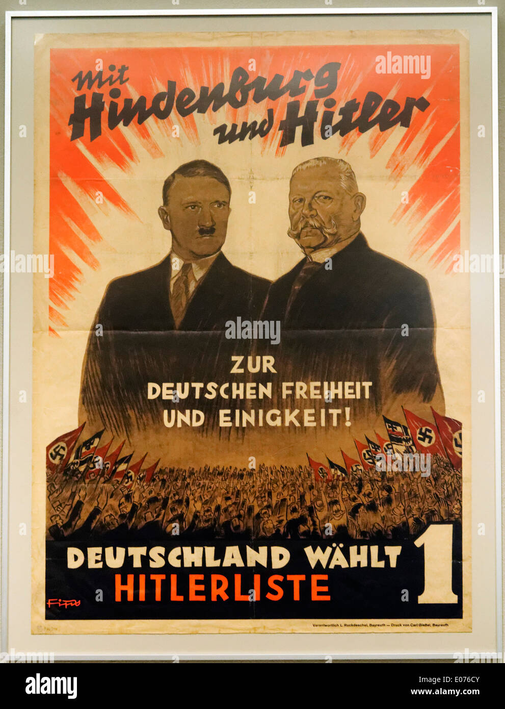 A nazi election poster of Hitler + Hindenburg, with the slogan 'with Hitler and Hindenburg towards German freedom and unity' - Stock Image