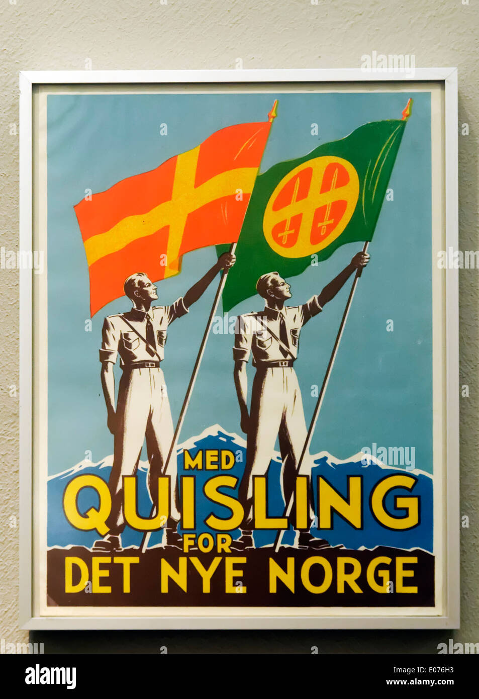 A WW2 era poster  from an election campaign in Norway. The candidate is the pro Nazi Vidkun Quisling - Stock Image