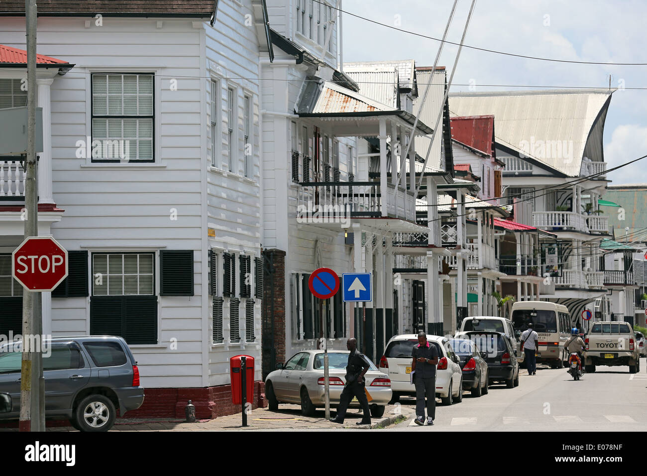 Dutch colonial houses at Waterkant street (Waterfront) in Paramaribo, Suriname, South America - Stock Image
