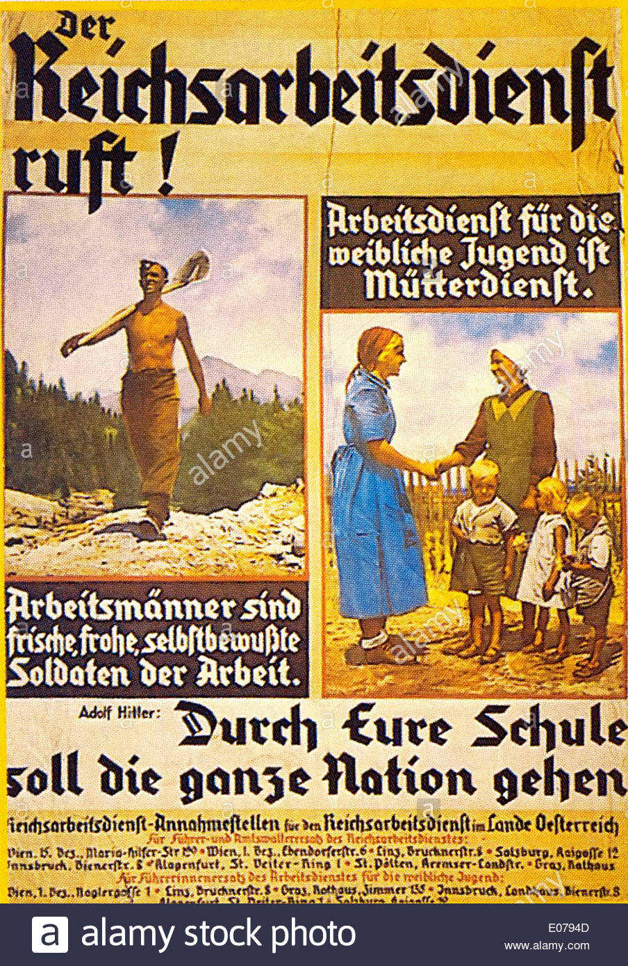 Nazi German propaganda wartime poster - Stock Image