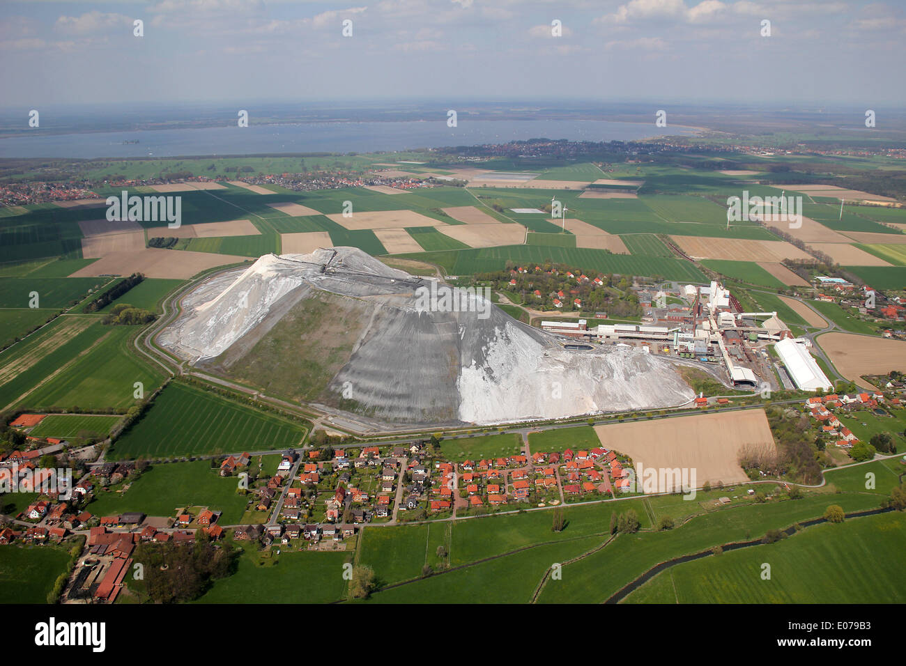 Aerial view of mine Sigmundshall near Bokeloh (Lower Saxony, Germany), picture taken at 01.05.2013 from a light Stock Photo