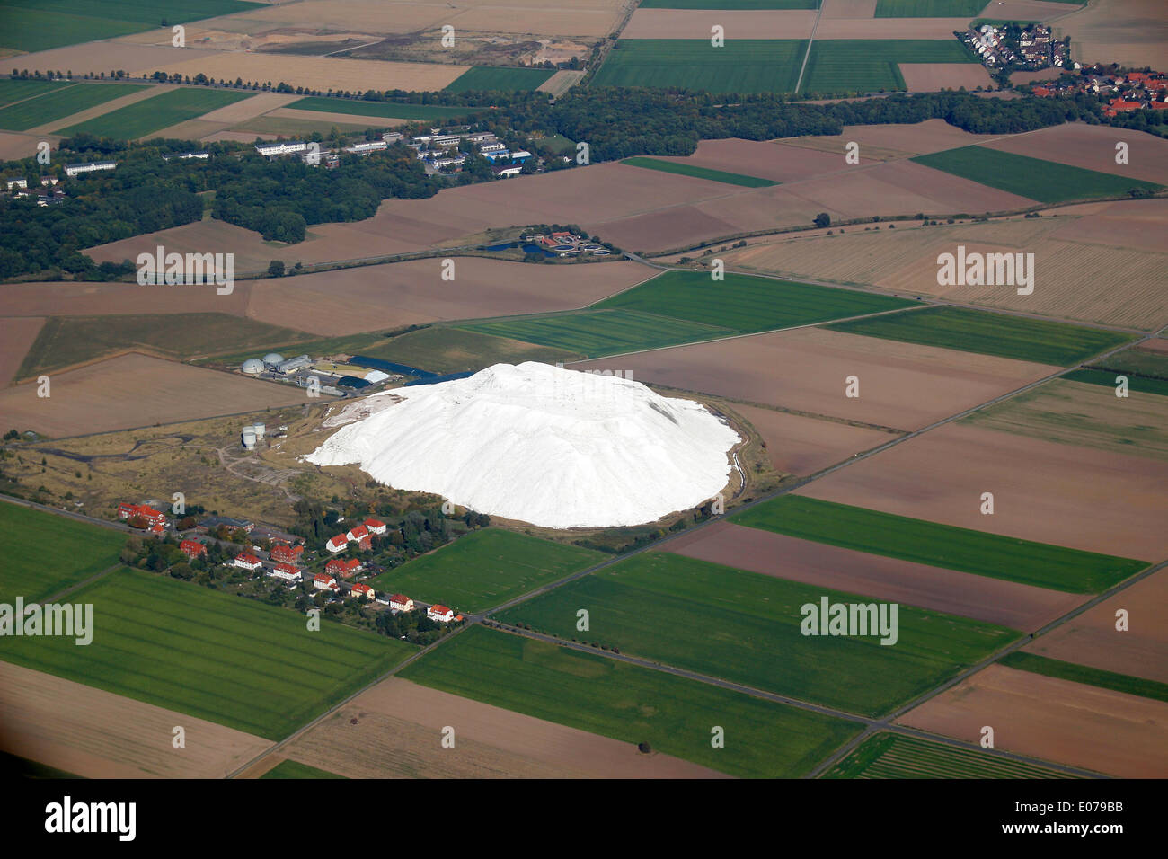 Aerial view of mine Siegfried and salt hill Wetterberg near Giesen (Lower Saxony, Germany), picture taken at 01.10.2012 Stock Photo