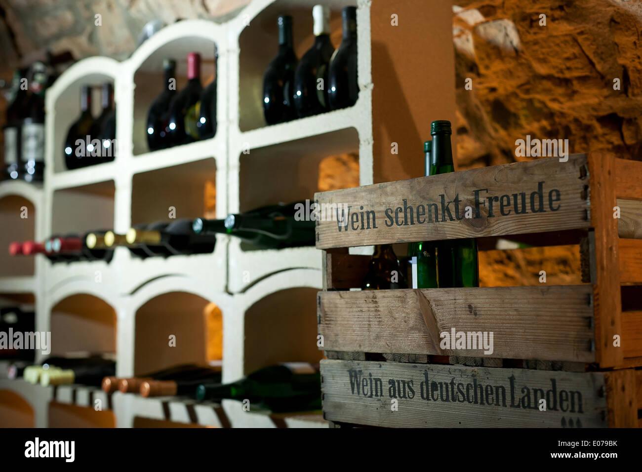 interior shot of a german wine cellar (wine gives you joy) - April 2014 Stock Photo