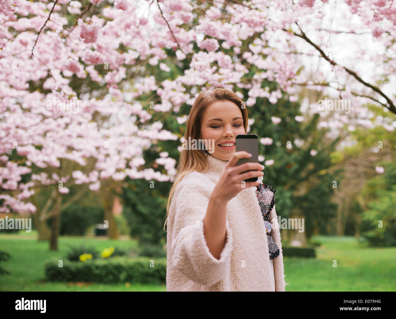 Beautiful young female taking pictures of with smartphone at spring blossom park. Caucasian female shooting at park with phone. - Stock Image