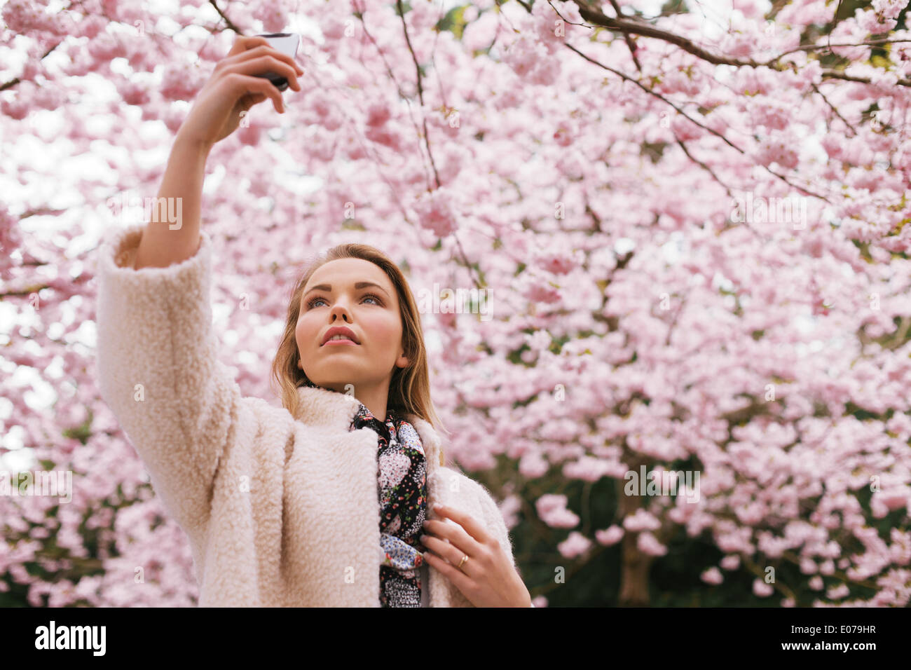 Beautiful young lady photographing nature with her mobile phone. Pretty young woman at spring blossom park taking photographs. - Stock Image