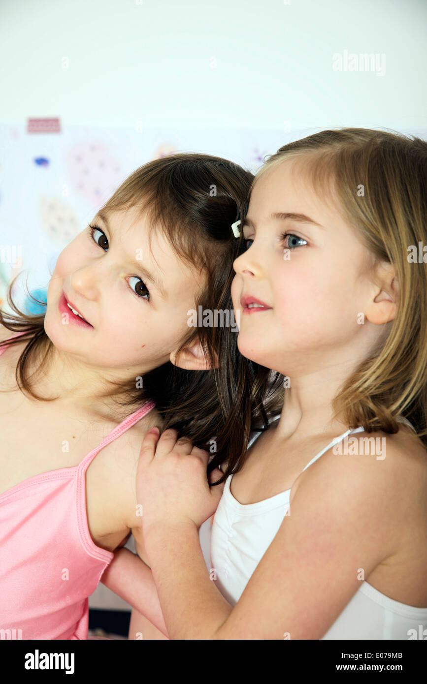 Portrait of two girls as ballerinas Stock Photo