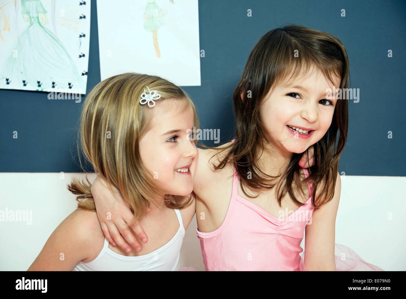 Two little girls as ballet dancers, portrait - Stock Image