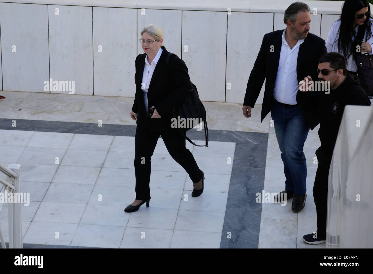 Athens, Greece. 5th May 2014. Golden Dawn's MP Eleni Zaroulia arrives at the Athens Supreme Cour. Golden Dawn MPs were invited by the Special Appellate magistrate, to account for the category of membership and directing a criminal organization. Athens, Greece on May 5, 2014. Credit:  Konstantinos Tsakalidis/Alamy Live News - Stock Image
