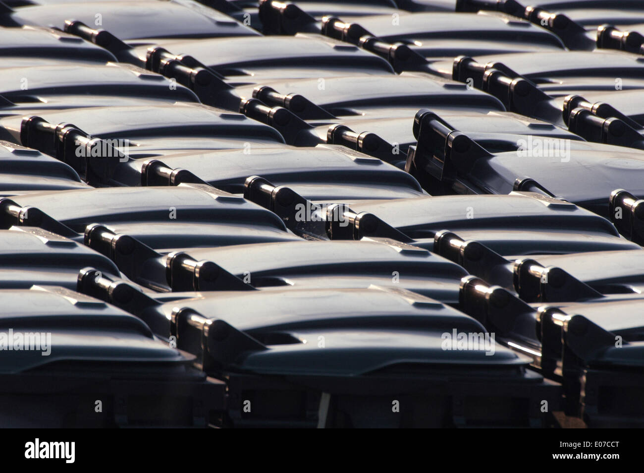 Berlin, Germany. 02nd May, 2009. Black dumpsters stand on the recycling facility of the Berlin city cleaning company - Stock Photo
