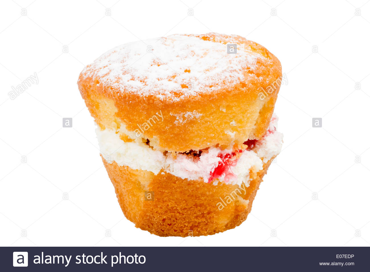 Muffin with fresh cream & strawberry jam cut out against a white background. - Stock Image