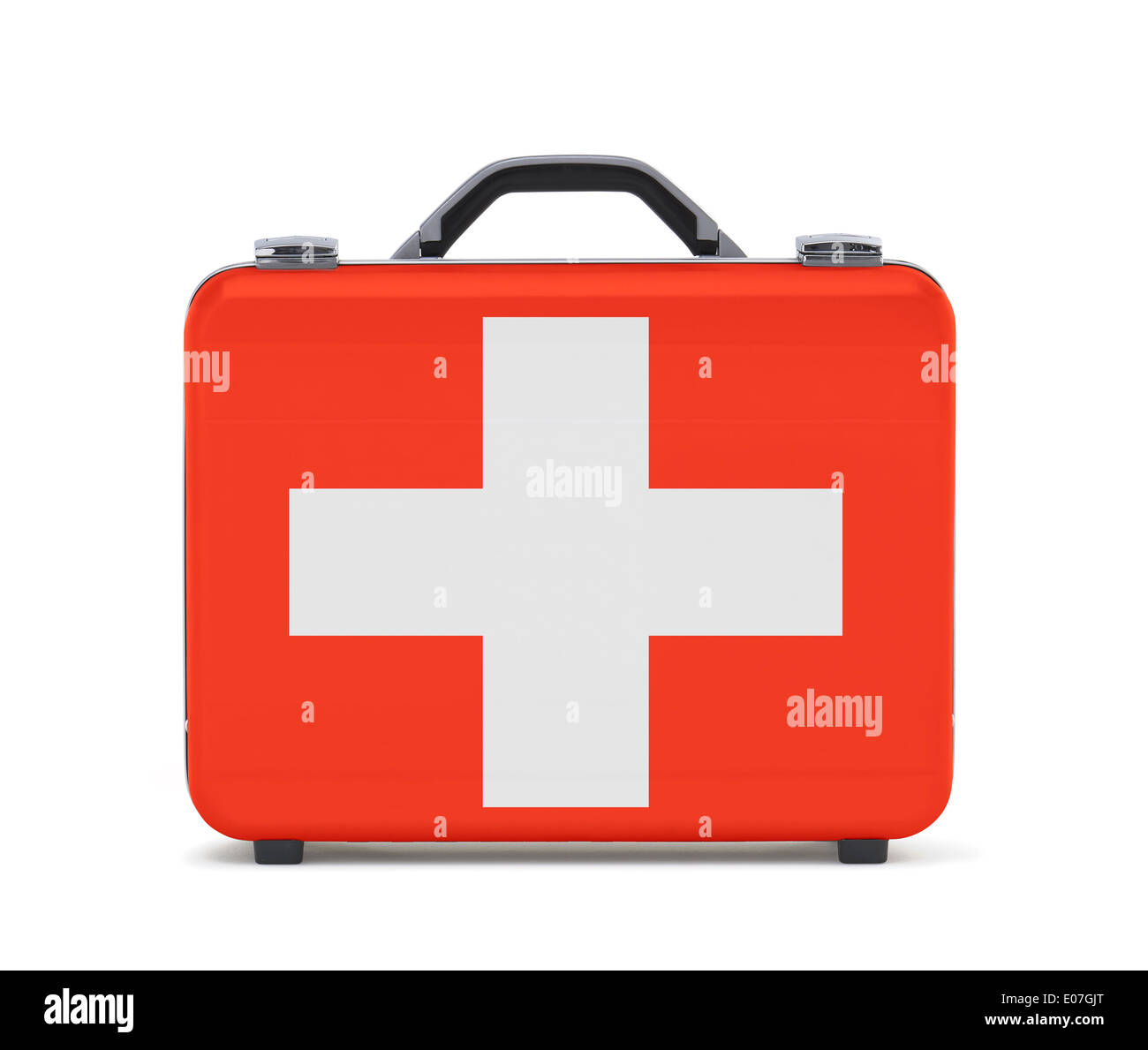 Business suitcase for travel with flag of Switzerland - Stock Image