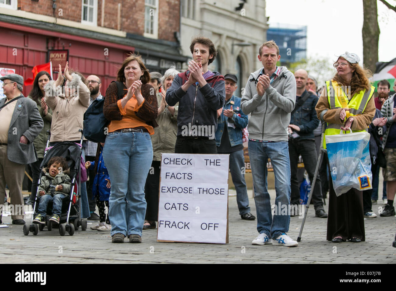 Salford, Manchester, UK. 5th May 2014. Demonstrators marched from Bexley Square in Salford to Cathedral Gardens in Manchester city centre on Monday, May 5, 2014, to protest against various issues including government cuts, bedroom tax, fracking and UKIP (UK Independance Party). Credit:  Christopher Middleton/Alamy Live News - Stock Image