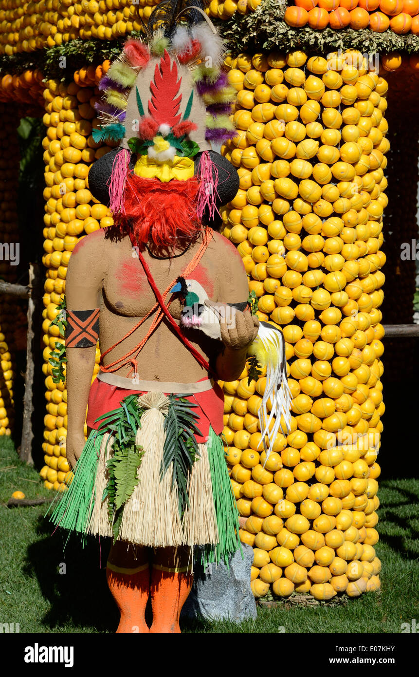 Papua New Guinea Tribesman Sculpture or Statue at the Annual Lemon Festival Menton France Stock Photo