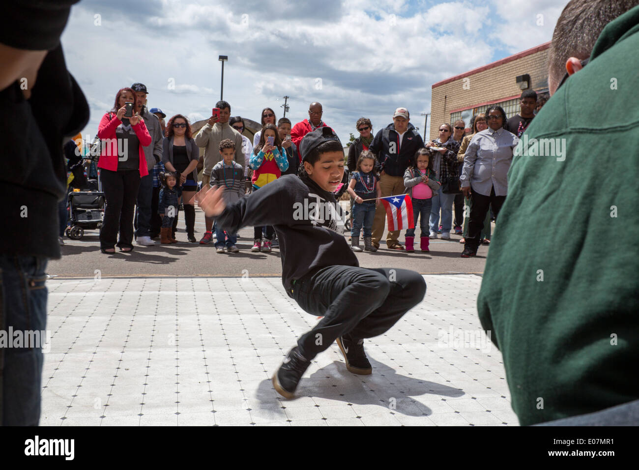 Detroit, Michigan - A breakdance demonstration at the Blessing of the Lowriders. Stock Photo