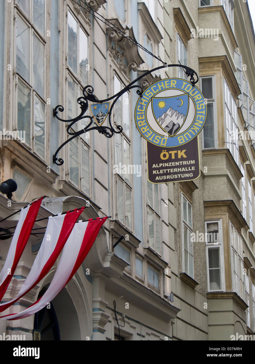 Old sign outside the Österrechischer Touristen Klub in Vienna Austria, a hiking and mountaineering association - Stock Image