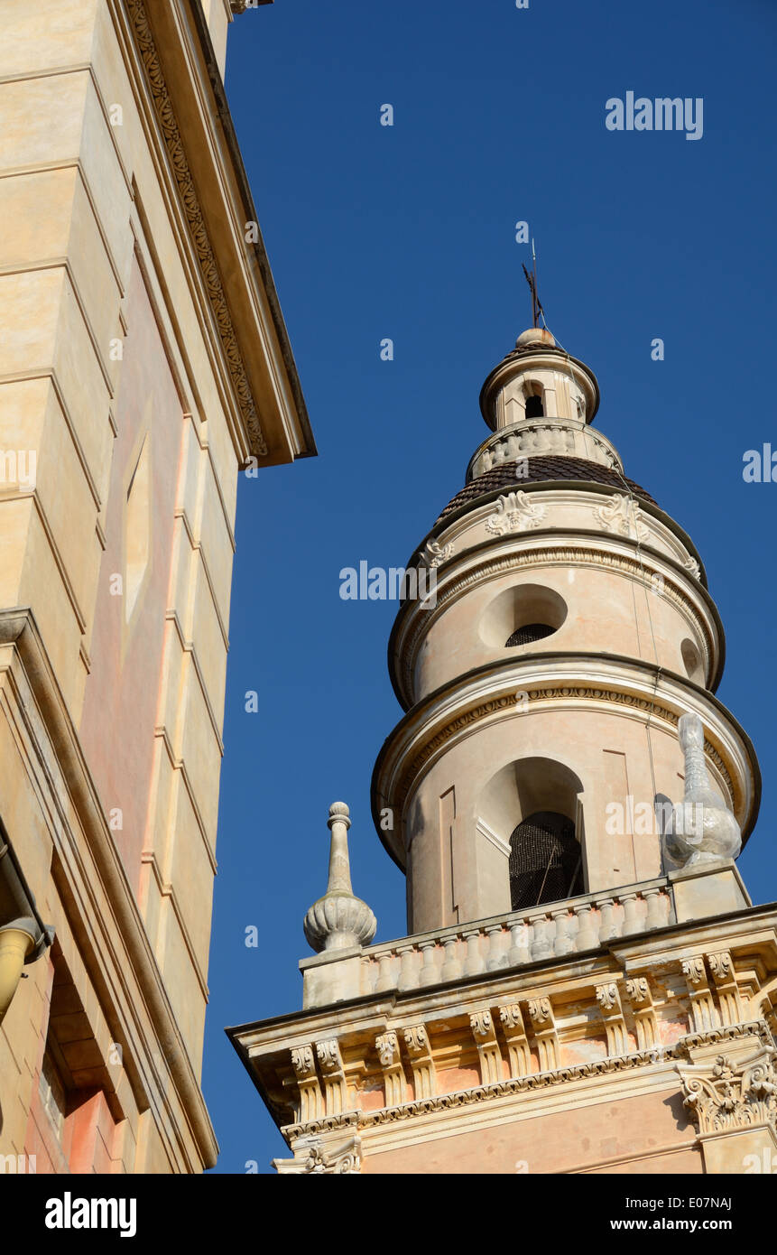 Belfry Belltower or Tower of Menton Cathedral or Baroque Basilica Saint-Michel-Archange (1619) Old Town or Historic District Menton France - Stock Image