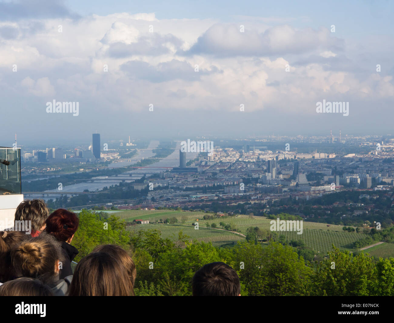 Kahlenberg the most famous viewpoint in Vienna 484 meters high, vineyards below and all of Vienna in a haze - Stock Image