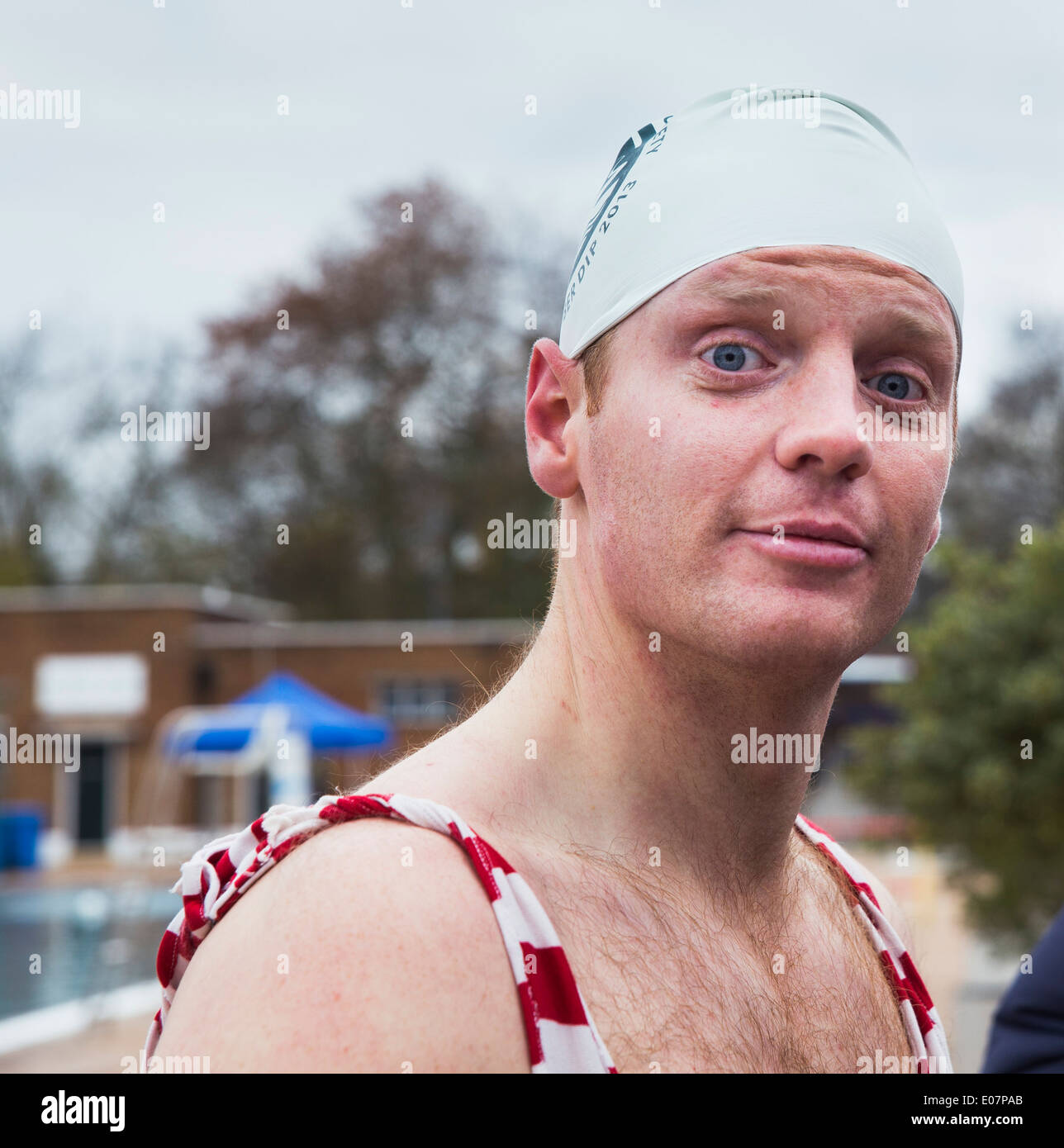 Swimmer ready for the Outdoor Swimming Society December Dip, December 7 2013 Parliament Hill Lido, NW5 1LP London, UK - Stock Image