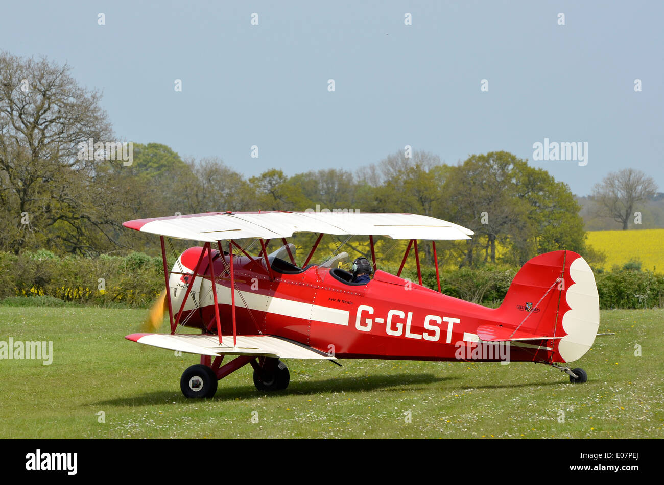 Replica Great Lakes Sports Trainer biplane, G-GLST at Popham Airfield, Hampshire - Stock Image