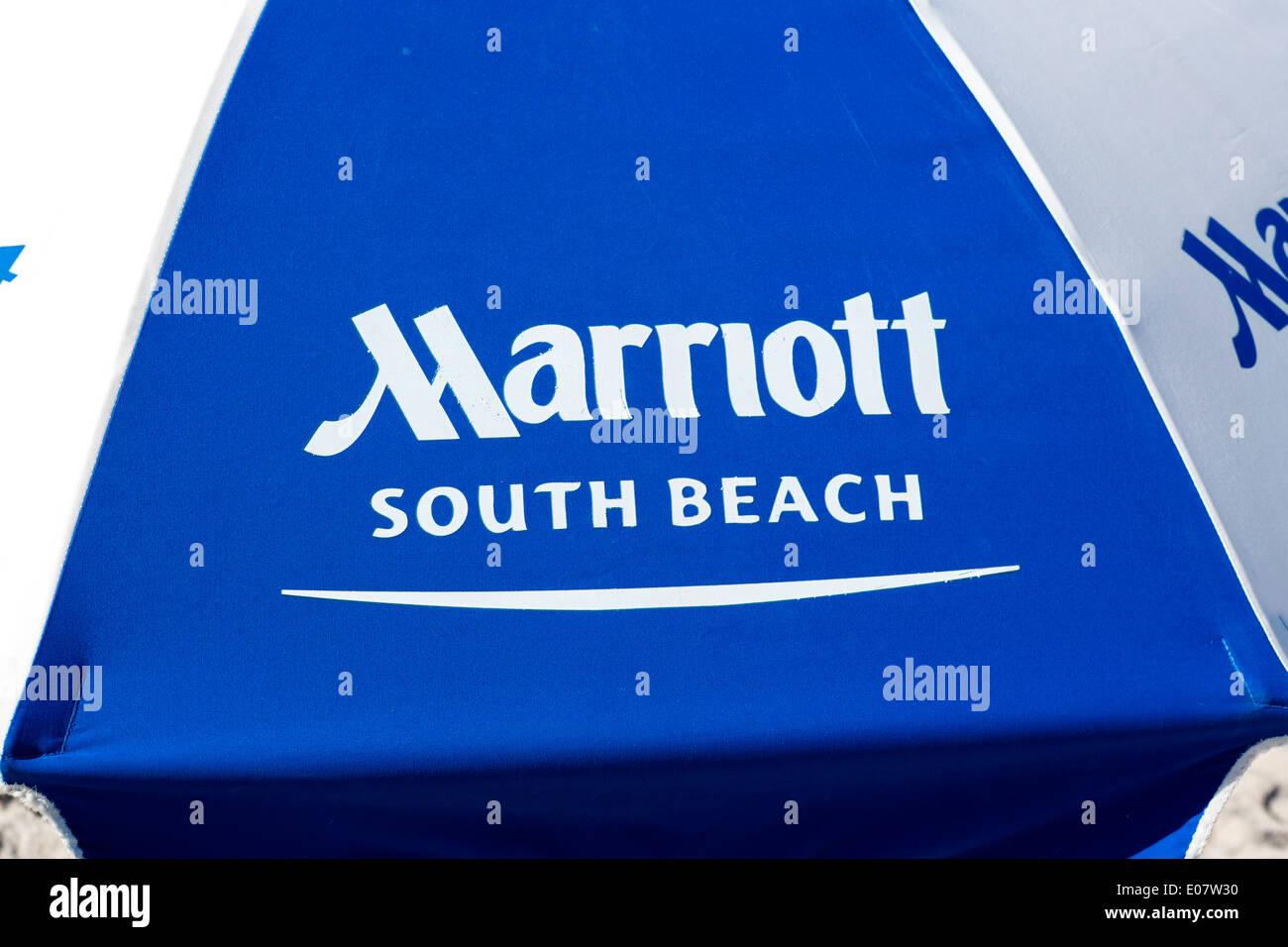 Umbrella outside Marriott South Beach Hotel, South Beach, Miami Beach, Florida, USA - Stock Image