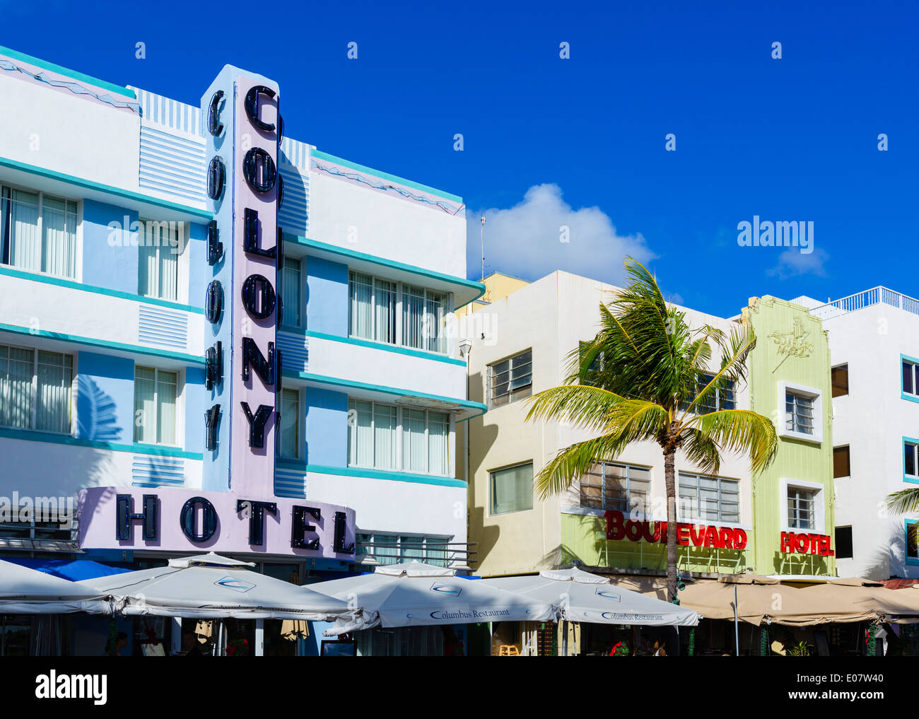 Art deco hotels on Ocean Drive, South Beach, Miami Beach, Florida, USA - Stock Image