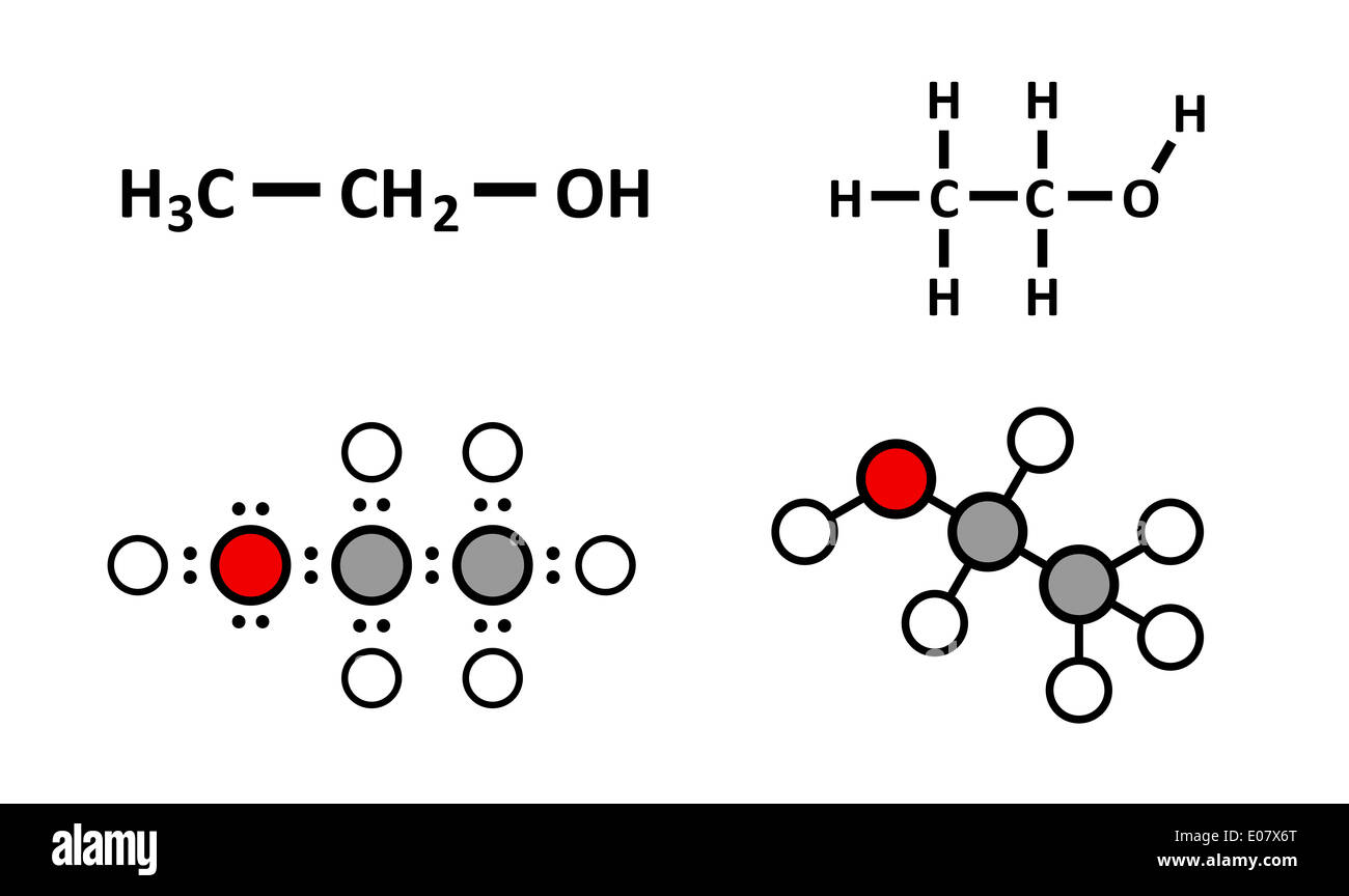 Alcohol (ethanol, ethyl alcohol) molecule, chemical structure. Stylized 2D renderings and conventional skeletal formulae. - Stock Image