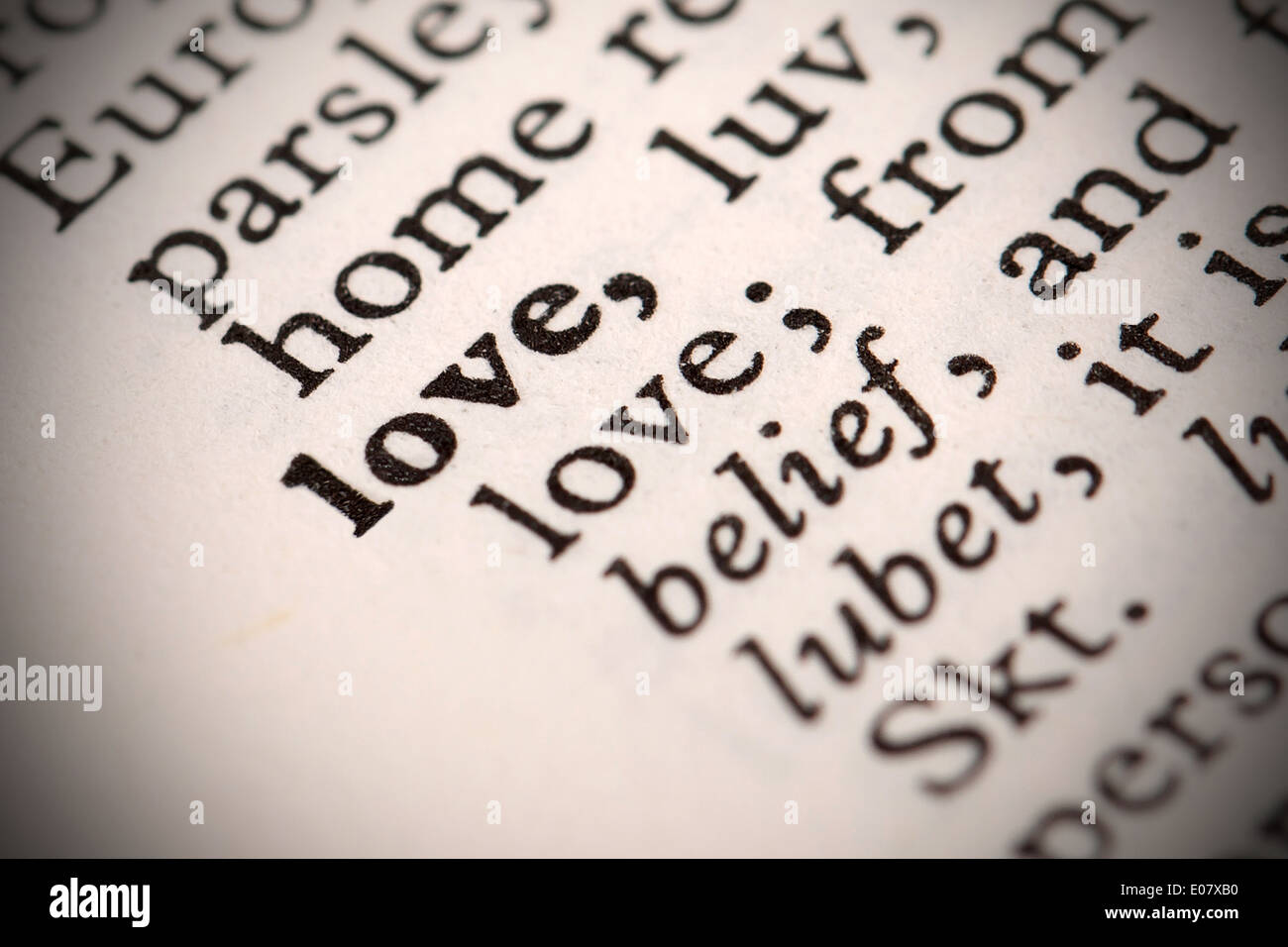 The Word Love In A Dictionary