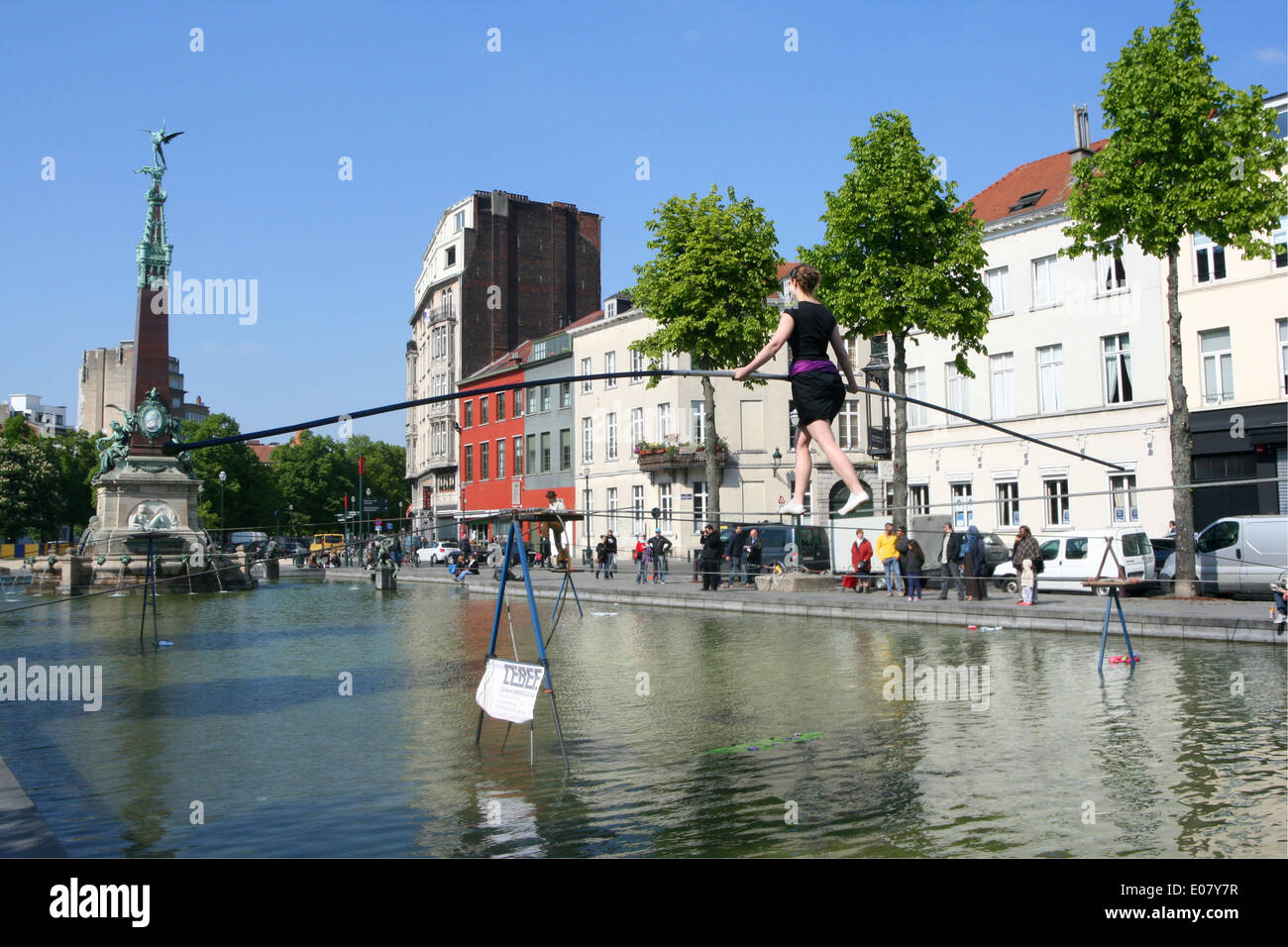 Tightrope walker in Brussels - Stock Image