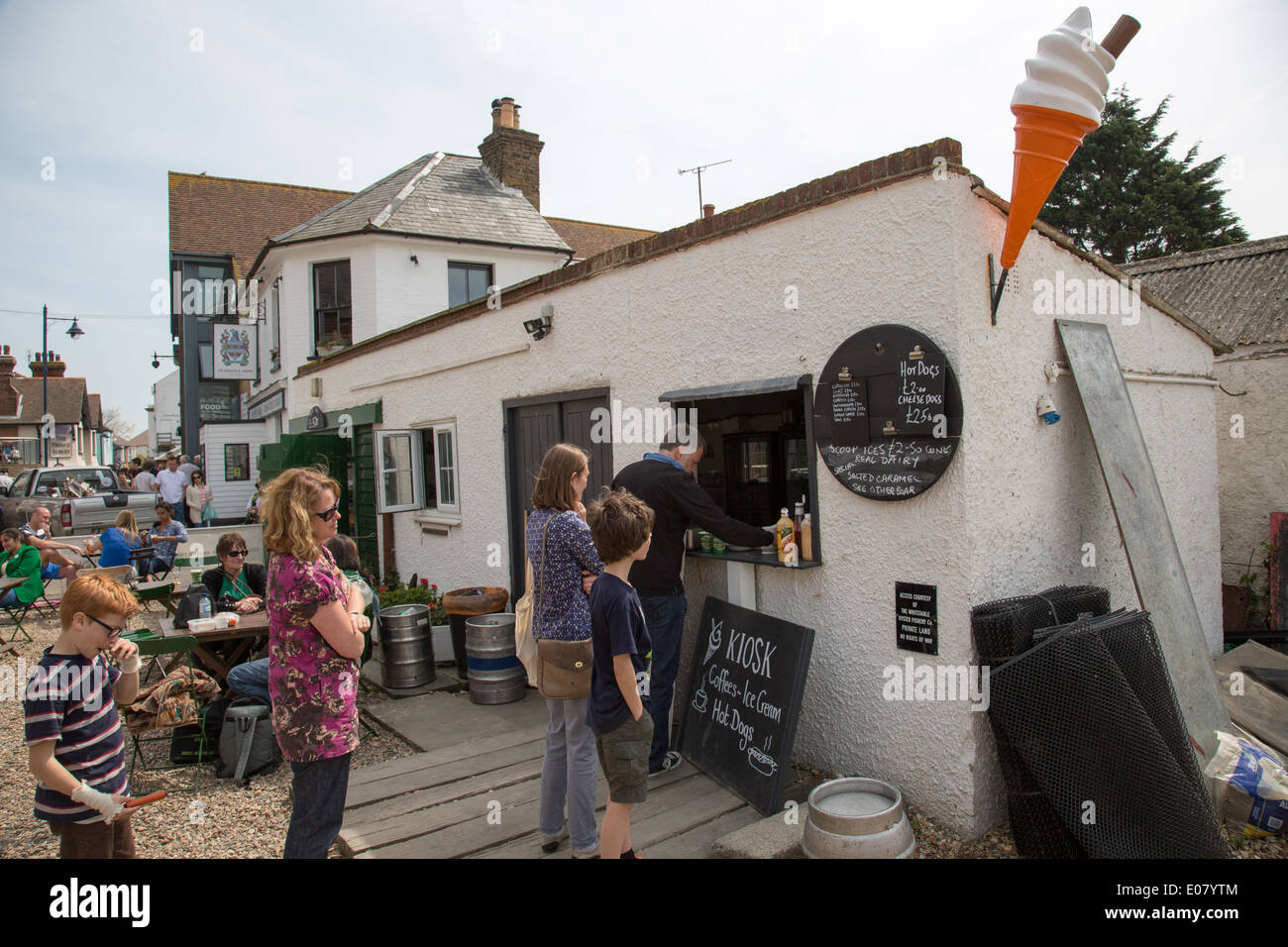 Ice cream parlor Seaside resort of Whitstable in Kent Stock Photo