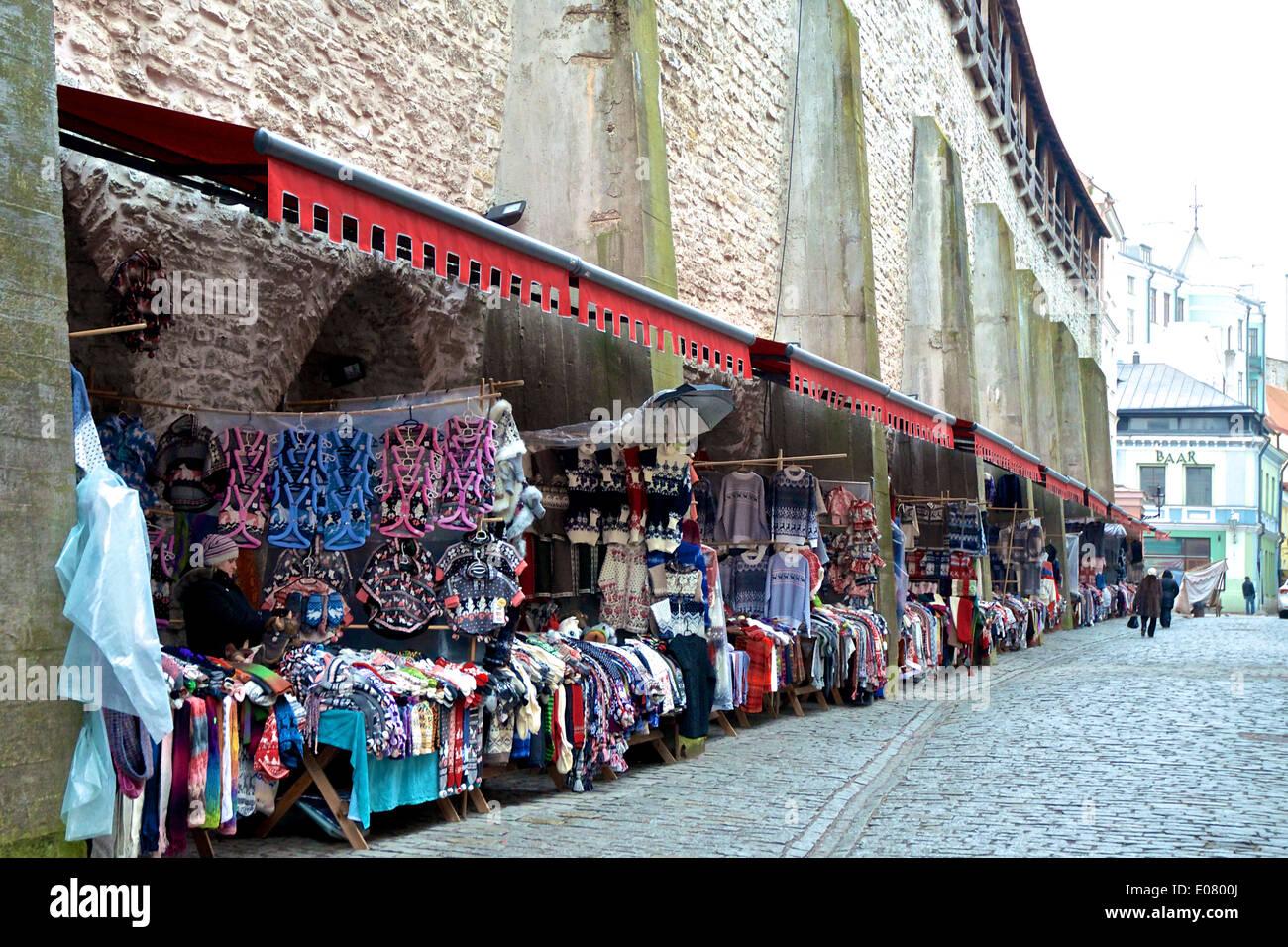 Tallinn market stalls - Stock Image