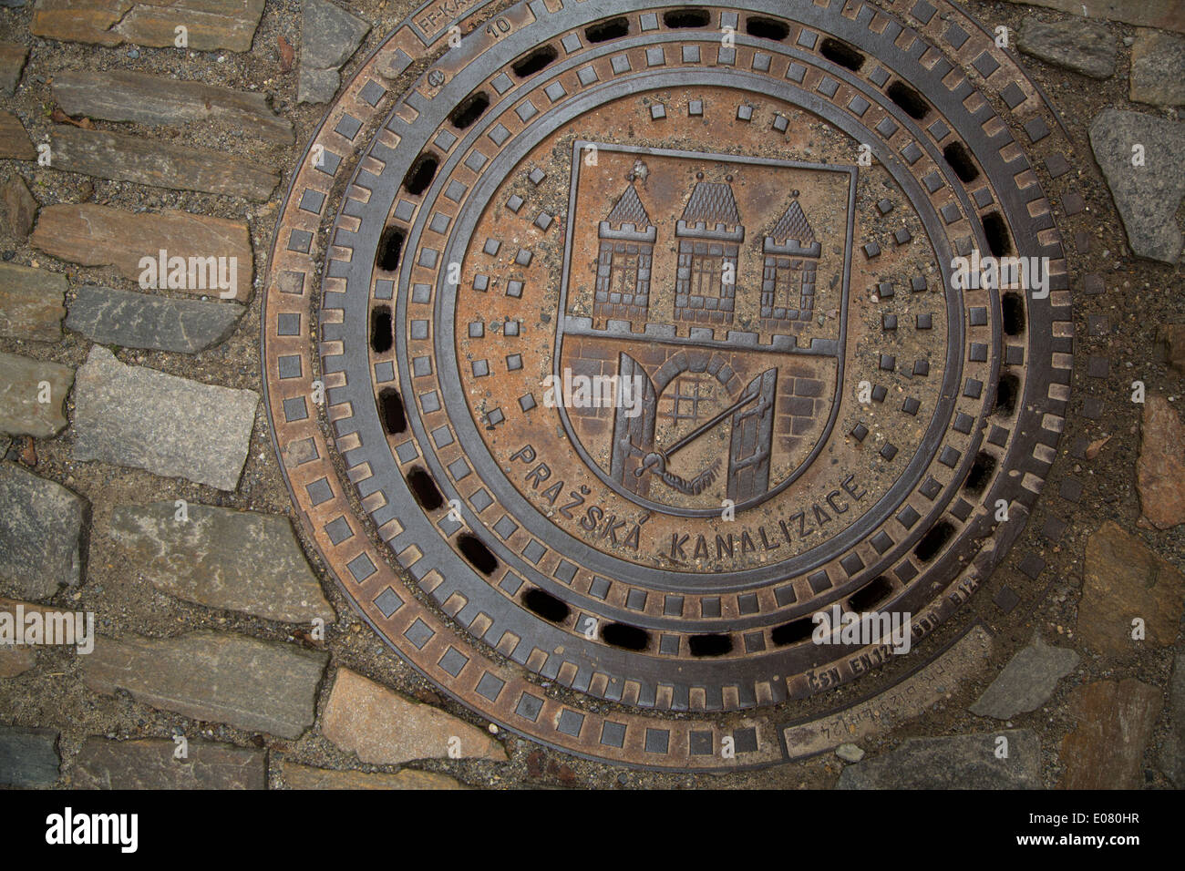 Prague, Czech Republic manhole. - Stock Image