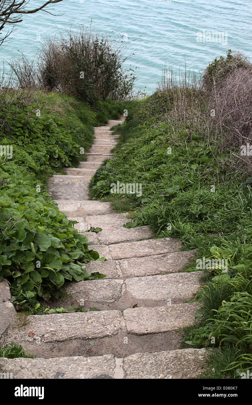 Twisting steps down to Carbis Bay, St Ives, Cornwall - Stock Image