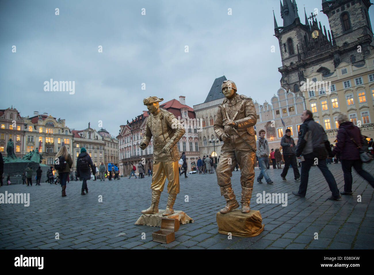 Street performers in Old Town Square - Prague, Czech Republic. - Stock Image