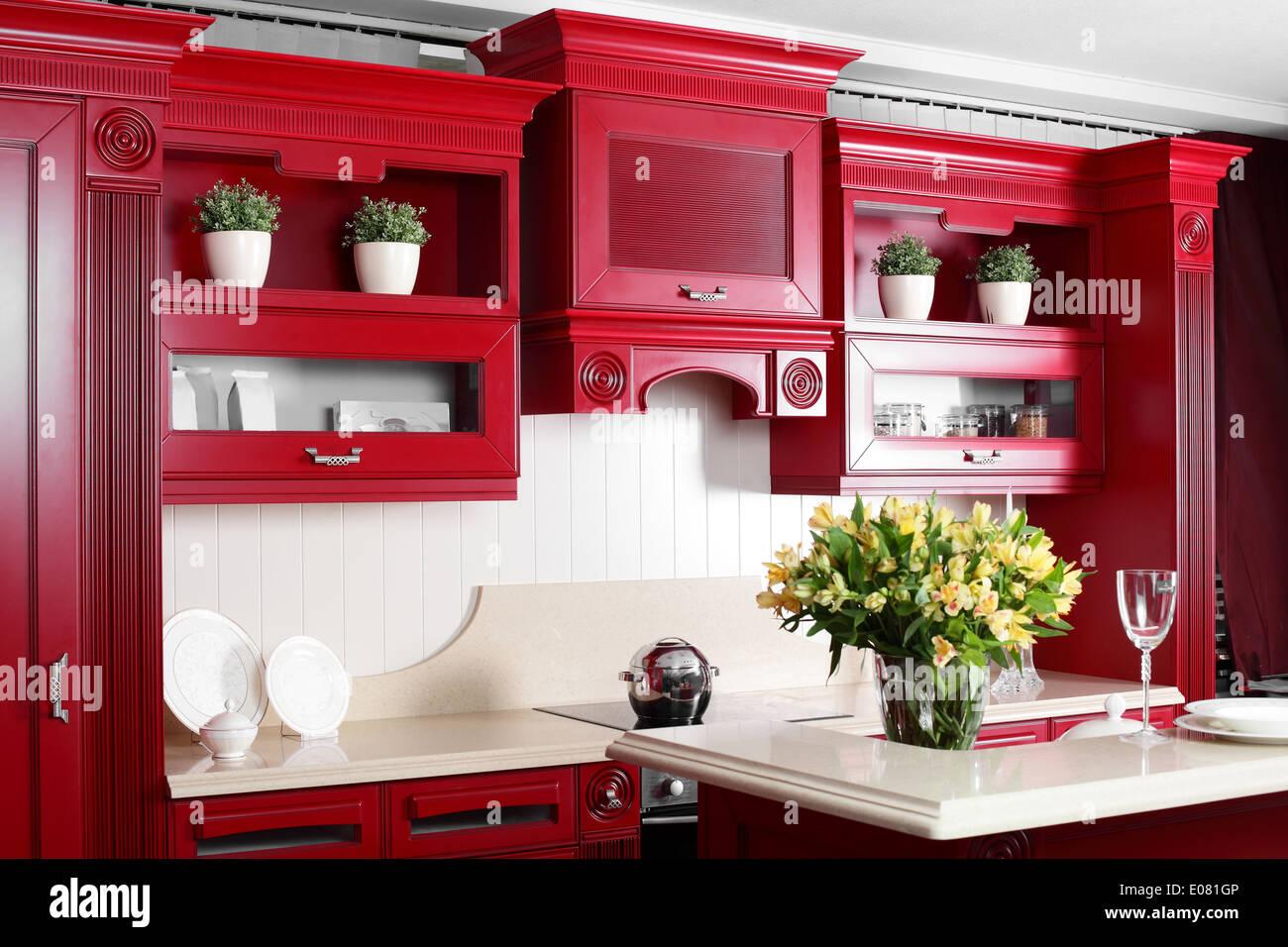 Luxury Red Kitchen Interior With Modern Furniture Stock Photo Alamy