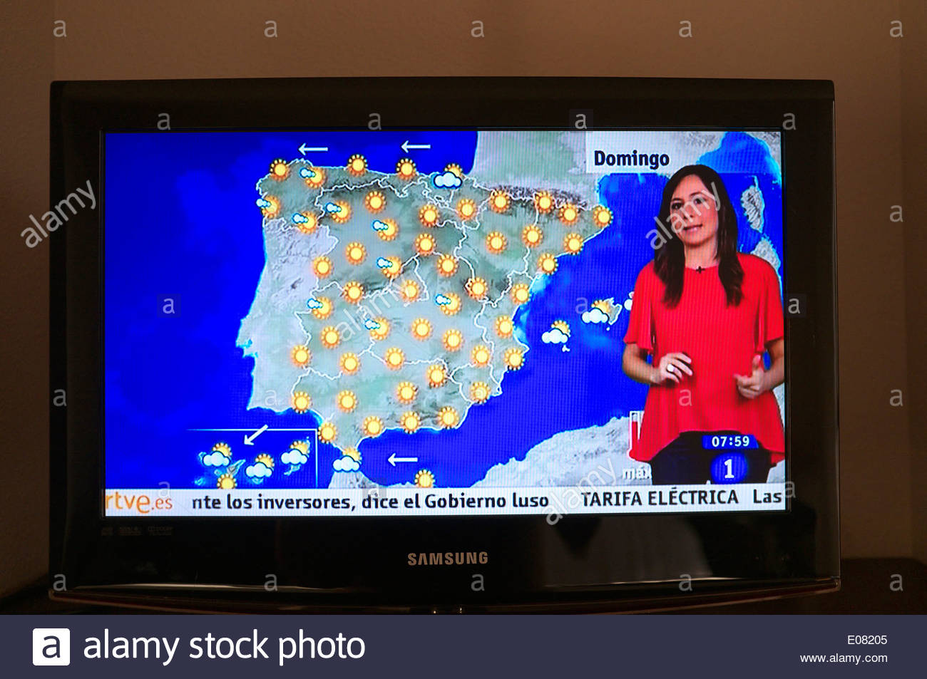 Television picture - Spanish TV weather forecast, showing a day of fine sunny weather. Spain, Europe. - Stock Image