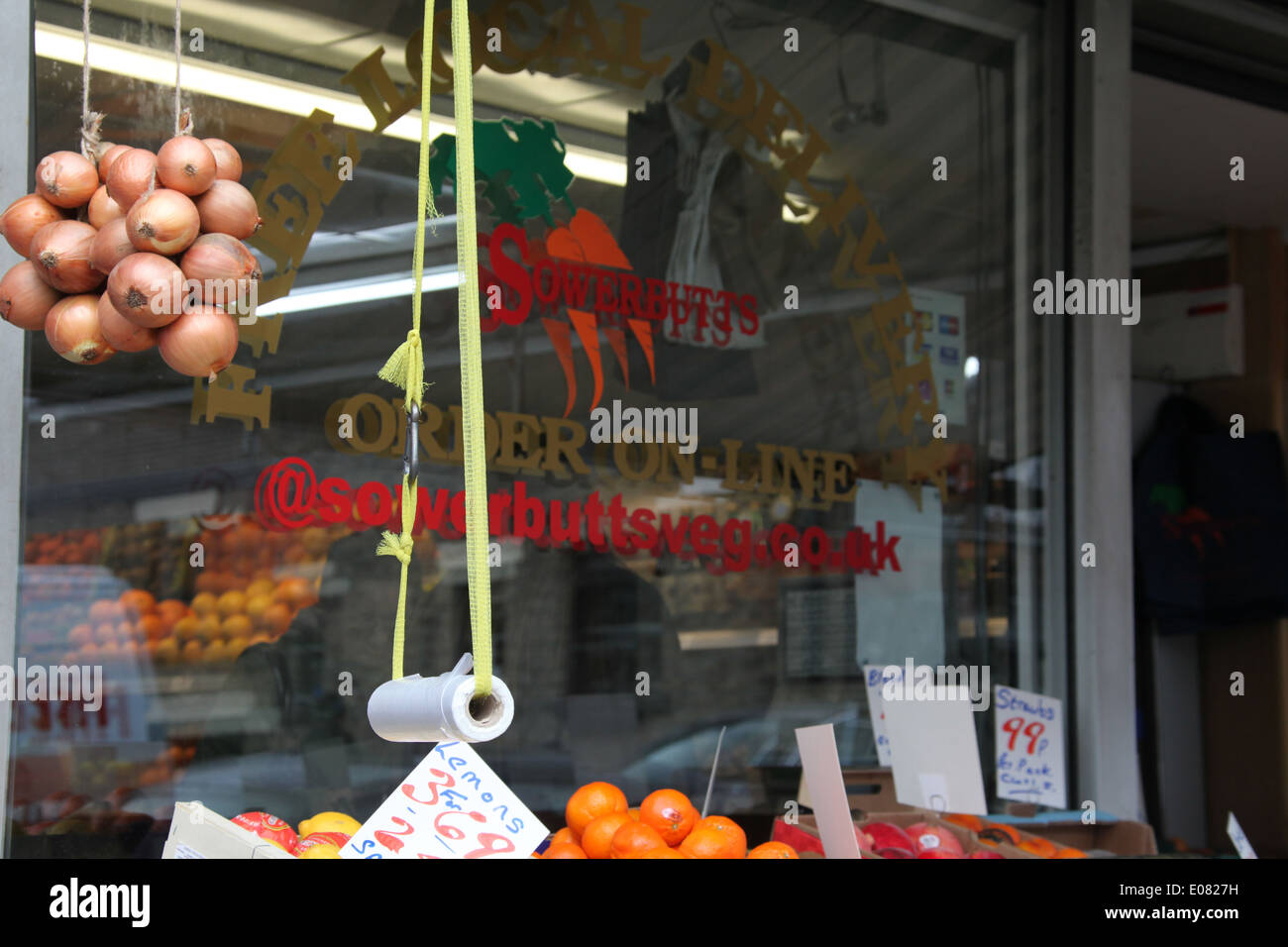 Sowerbutts of Glossop which is a traditional greengrocery - Stock Image