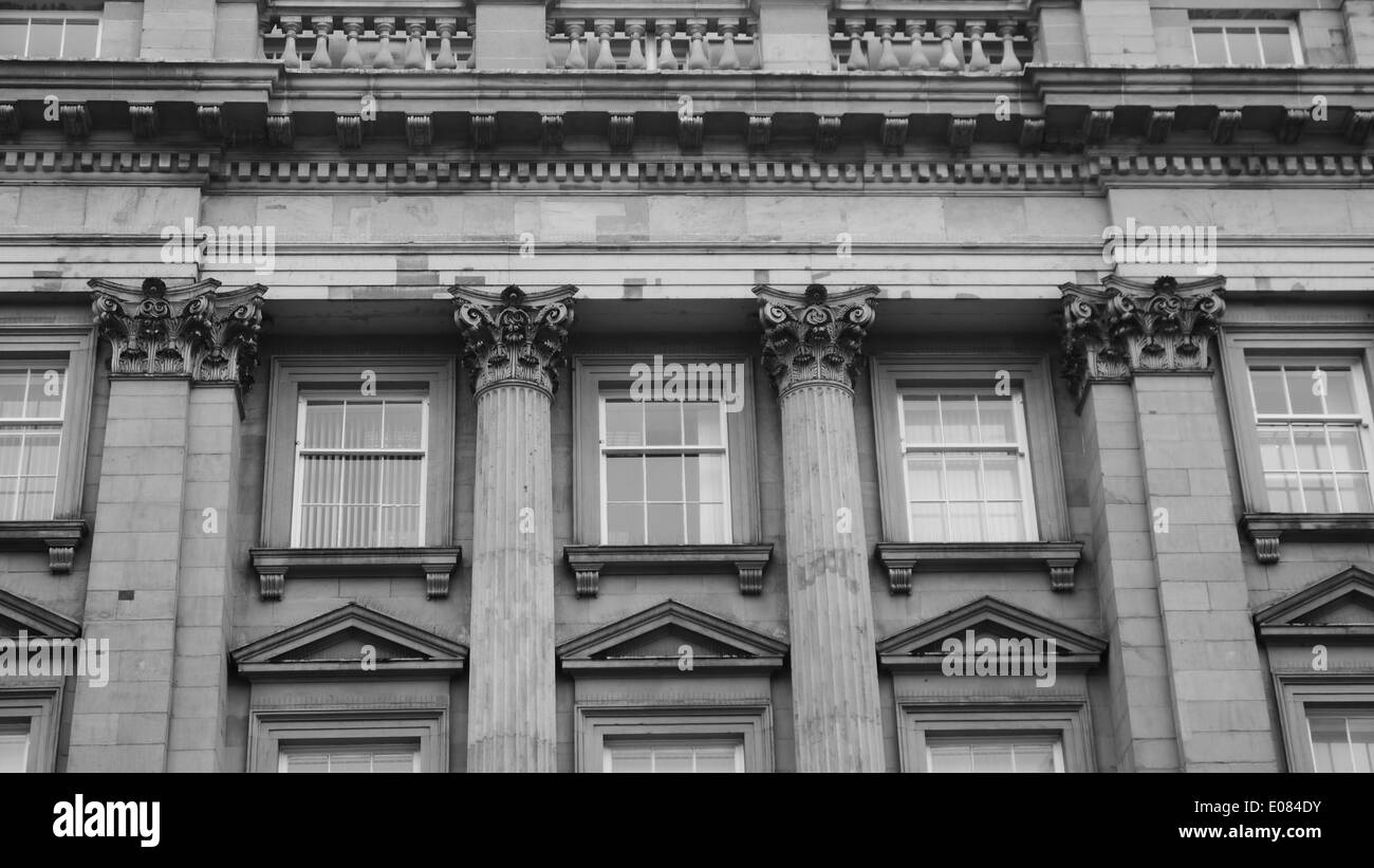 Architectural detail of an historic building with Corinthian columns, in Newcastle upon Tyne, England, UK - Stock Image
