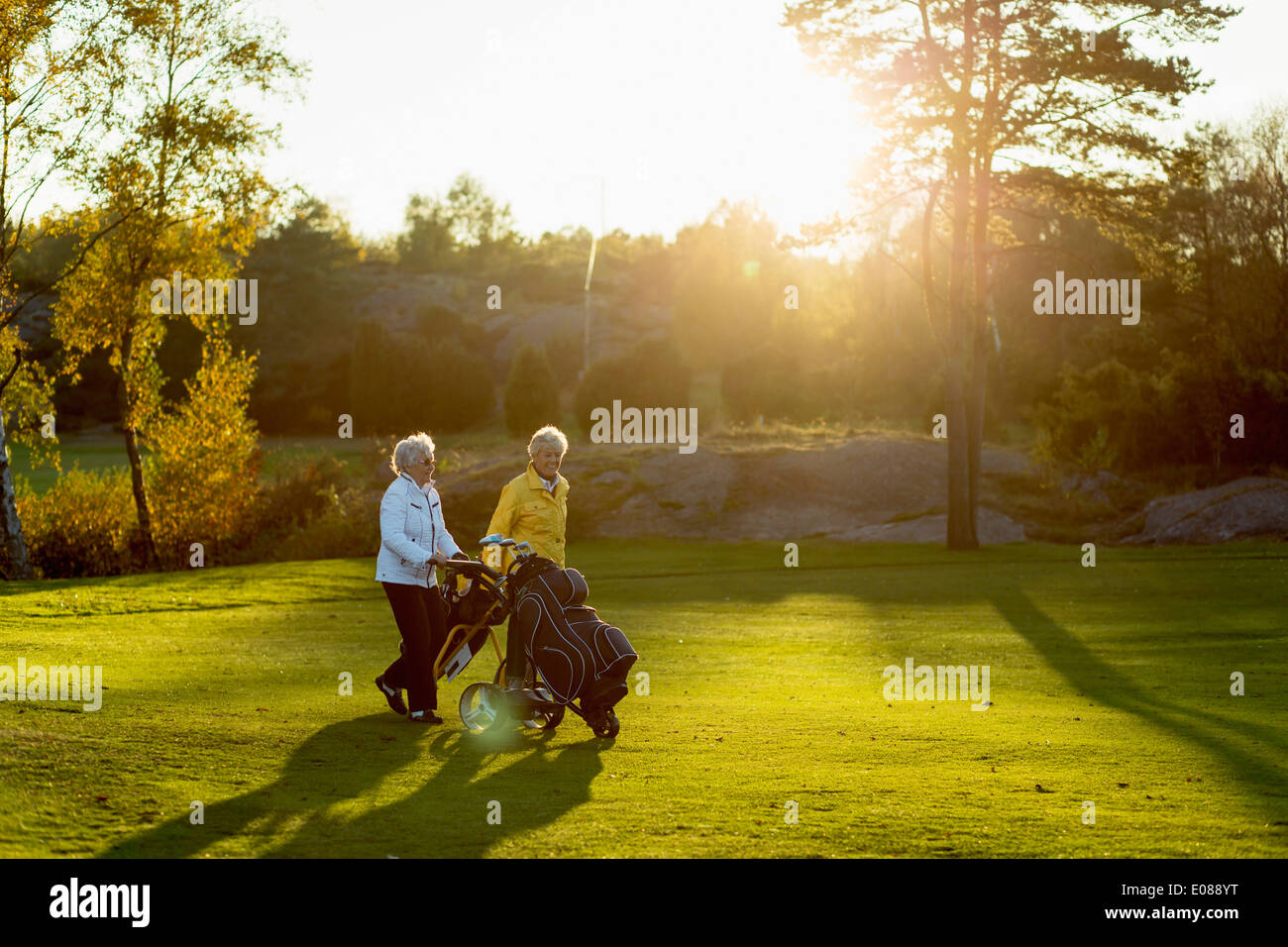Senior women walking with golf bags on grassy area - Stock Image