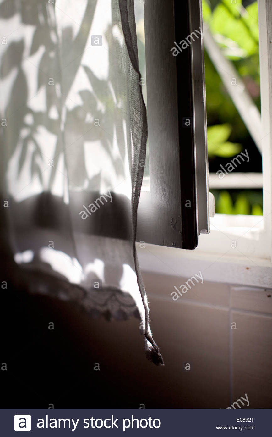 Close-up of open window with curtain - Stock Image