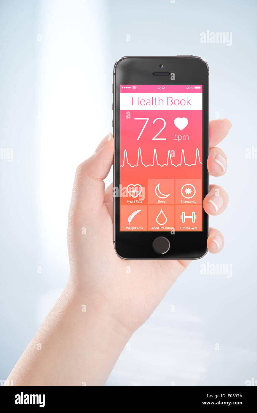 Woman hand is holding black mobile smart phone with health book app