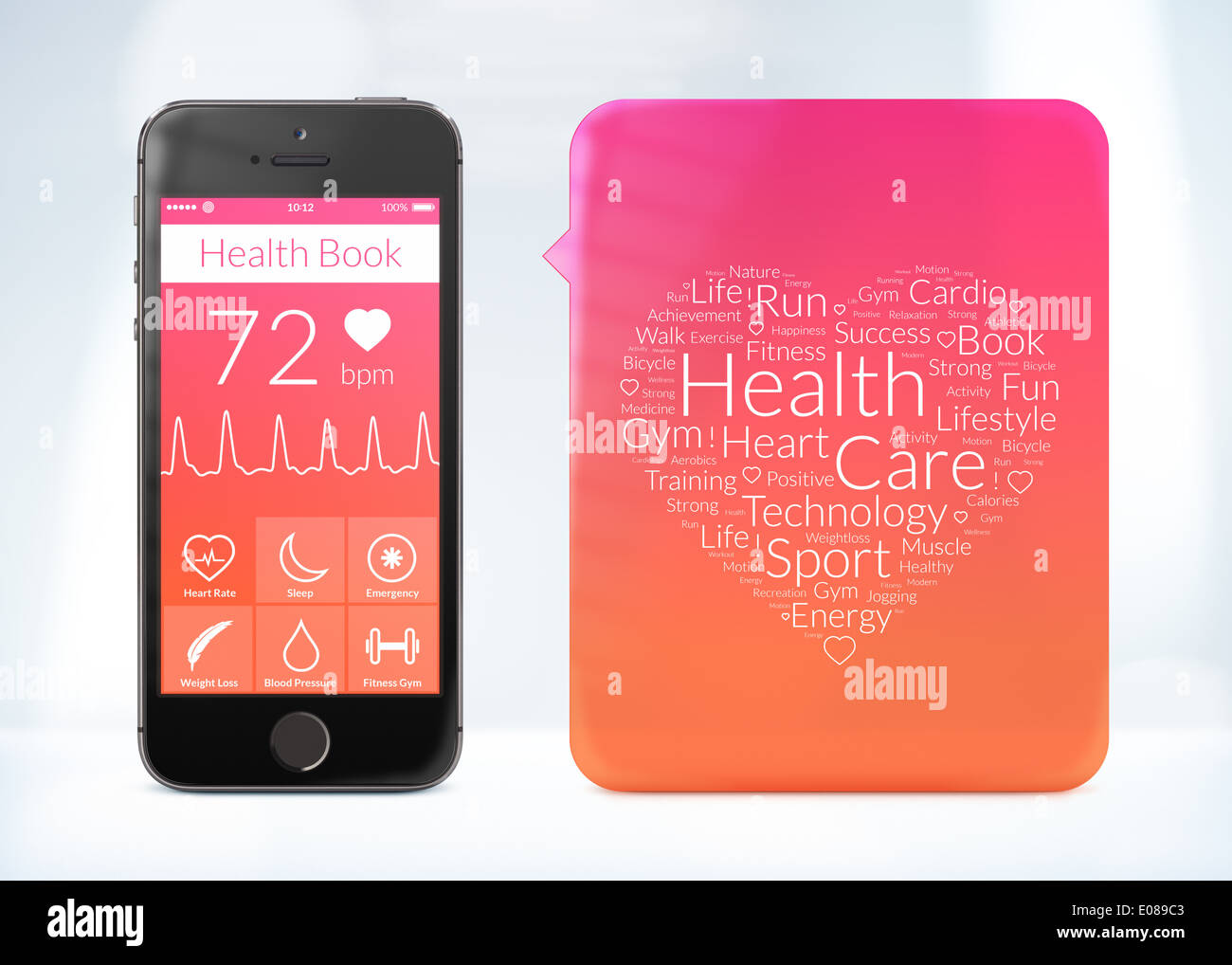 Directly front view of health book application for smartphone with word cloud sticker. - Stock Image