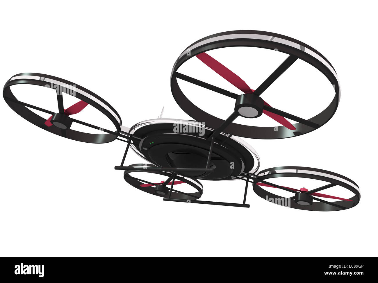 Drone Illustration 3D Isolated on White. Quadrocopter Technology - Stock Image