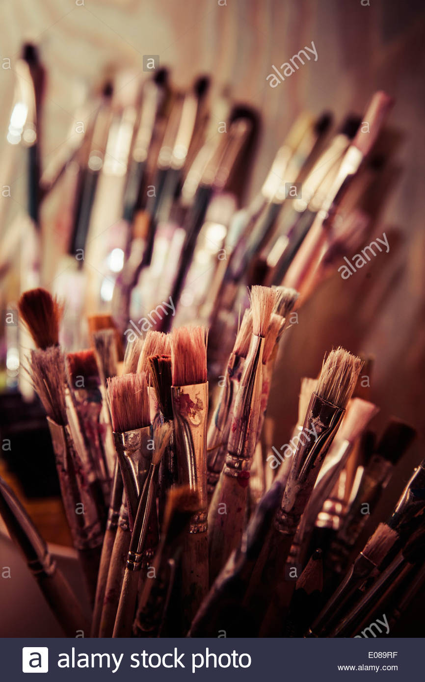 Various paintbrushes - Stock Image