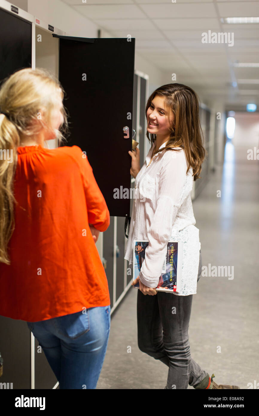 Girls High School Locker Room Stock Photos and Pictures